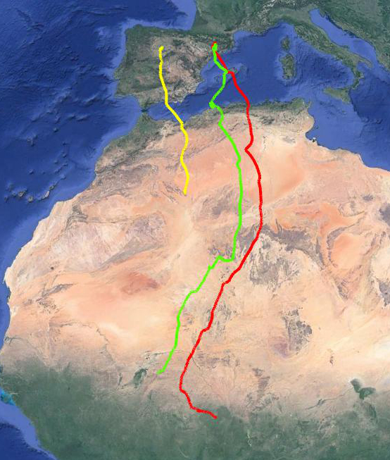 Rutas migratoria del alcotán. Fuente: SEO/BirdLife